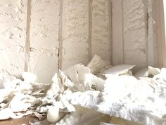 If the spray foam insulation passes the joist, we shave down the excess foam so that sheet rock can be directly applied. Installed by MPI Foam.