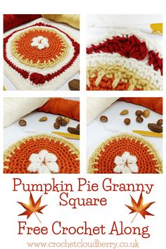 Make the Pretty Pumpkin Pie Granny Square - Free crochet pattern with video tutorials | Crochet Cloudberry Granny Square Pattern Free, Granny Square Crochet Pattern, Crochet Granny, Granny Squares, Crochet Squares, Crochet Afghans, Crochet Pumpkin, Crochet Fall, Diy Crochet