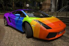 rainbow Lamborghini, uh please !! I would totally love one of these... haha :D