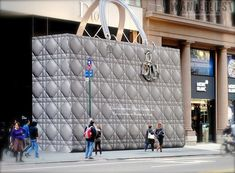 Giant-scale handbag facade outside the Dior store on New York's 57th Street