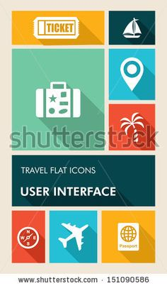 Travel mobile UI applications graphic user interface flat icons set. Vector layered for easy editing. by Cienpies Design, via Shutterstock