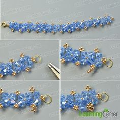 Finish the main part of the blue glass bead bracelet