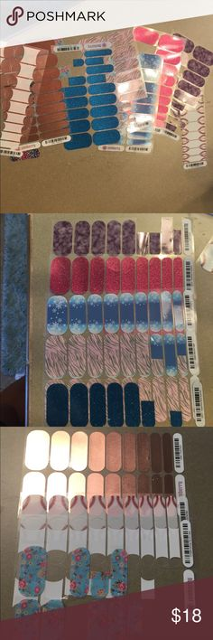 Jamberry lot Several different sheets of jamberry.  Some are partially used, mostly on the smaller side of the application.  Approximately 8 1/2 sheets jamberry Other