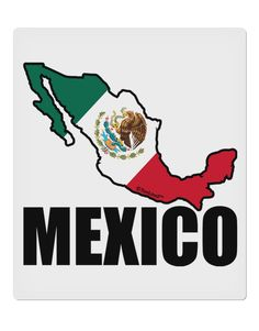"""Mexico Outline - Mexican Flag - Mexico Text 9 x 10.5"""" Rectangular Static Wall Cling by TooLoud"""