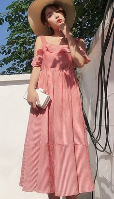 Fashiontroy Holiday collection beachwear bohemian short sleeves red striped ruffled bowknot beach cotton blend midi dress spring summer