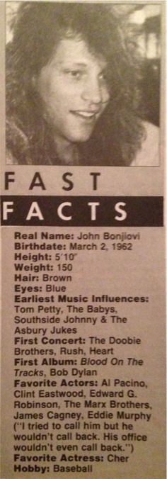 Jon Bon Jovi - Loved reading this in the rock mags growing up
