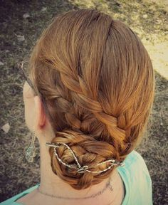 Music lover flexi hair clip. Beautiful double french braids into a bun style. Love her hair color! It's like golden honey brown.