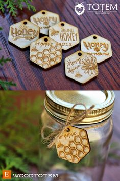 $0.9 Wood Tags for Honey Package with Logo, Jar Bee Hive Honeycombs, Wooden, Organic, Beehive, Personalized Engraved Wedding Business Custom Gift #woodtotem #beetags #honeytags #sacramento