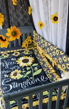 FLASHSALE**Sunflower (You Are My Sunshine) Crib bedding Collection(SALE on sets only!) (Please note.Prices start at for separates) - daria Sunflower Nursery, Sunflower Room, Baby Bedroom, Baby Room Decor, Girl Nursery, Nursery Ideas, Nursery Room, Tribal Nursery, Disney Nursery