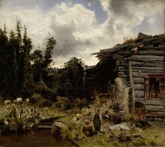 Werner Holmberg (1830-1860) Hämäläinen humalisto / Finnish Hop Garden 1860 - Finland