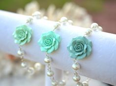 Mint Green Rose Bracelet Tiffany Mint Green and Pearls by Diaszabo, $23.00