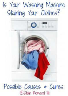 Have you ever experienced washing machine stains, where your machine is the culprit for staining your clothes? Read questions from reader and tips for fixing the problem here. Rust Stains On Clothes, Stain On Clothes, Diy Cleaning Products, Cleaning Solutions, Cleaning Hacks, Diy Cleaners, Cleaners Homemade, Clean Washing Machine, Laundry Hacks