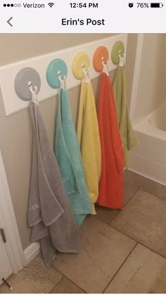 My kids each have one towel with their name on it. This trick has helped so much because now we know who leaves their towel on the floor and they are more likely to hang it up. (This has really cut down on germ transfer too and we don't spread illness around so much!!) I wash while they are at school and just hang back up.I decided to keep 3 guest towels.