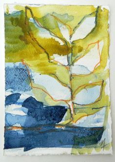 Abstract organic nature Original watercolor by AbstractionbyStacey, $22.00