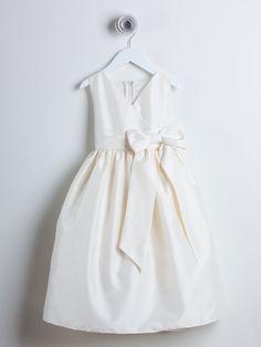 Beautiful Ivory V-neck Dupioni Dress