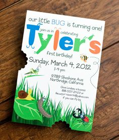 Bug Themed Birthday Party invitation - cute!