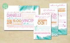 Printable TROPICAL Wedding Invite Suite024 (4-piece) on Etsy, $50.00