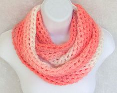 Infinity Moebius Scarf, spiral crocheted in Orange Creamsicle color stripes lightweight yarn Spiral Crochet, Summer Ice Cream, Orange Creamsicle, Ice Cream Treats, Garment Bags, My Signature, Color Blending, Color Stripes, Handicraft