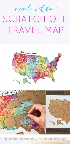 Scratch Off Travel Map -- Handmade-a-Day   #anniversary #gifts #oneyear #scratch-off #theunitedstates #travelmap #usa  
