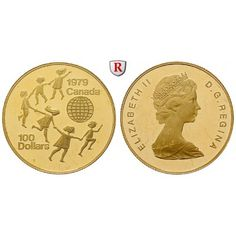 Kanada, Elizabeth II., 100 Dollars 1979, 15,55 g fein, PP: Elizabeth II. seit 1952. 100 Dollars 15,55 g fein, 1979. Jahr des Kindes.… #coins