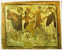 Roman Mosaic; Ariadne, Pan and Dionysos - at the Mérida, Emerita Augusta in Spain
