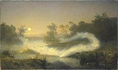 Alfheim er i nordisk mytologi Frejs bolig i Asgård. Alfheim er beboet af lysalfer også kaldet elverfolk eller ellefolk. Alfheim regeres af Frej.  Læs mere: Alf (nordisk mytologi) https://da.wikipedia.org/wiki/Alf_(nordisk_mytologi)  Foto: Älvalek (Alfeleg) maleri fra 1866 af August Malmström.