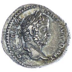 Geta als Caesar Denar, Av: P SEPTIMIVS GETA CAES drapierte Büste nach rechts, Rv: MARTI VICTORI Mars mit Speer und geschultertem Tropaeum nach rechts schreitend