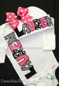 Baby girl onesie and hat SET, personalized, coming home outfit, newborn girl, beanie with bow on Etsy, $37.00