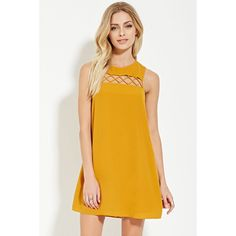 Love 21 Women's  Contemporary Mini Shift Dress ($28) ❤ liked on Polyvore featuring dresses, cut out dress, short shift dress, sleeveless dress, cutout dress and shift dress