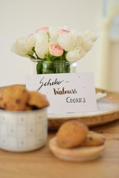 Walnuss-Cookies - Cooking Bakery Cookie Time, Bakery, Place Cards, Place Card Holders, Cookies, Crack Crackers, Biscuits, Cookie Recipes, Bakery Business