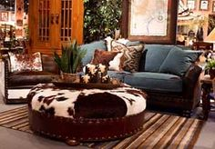 sofa- blue upholstry w/ dark leather