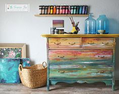Hand Painted Gorgeous Dresser Featuring an Abstract Sunset