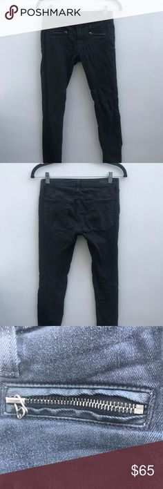 AG Waxed Black Denim Low rise  Zippers up back  Zippers on front Ag Adriano Goldschmied Jeans Skinny
