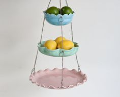 Hanging Fruit Basket - Set of 3 with UnMatchy Edges - Candy Colors.