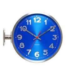 Karlsson Double Sided Stainless Steel Wall Clock, Blue: Amazon.co.uk: Kitchen & Home