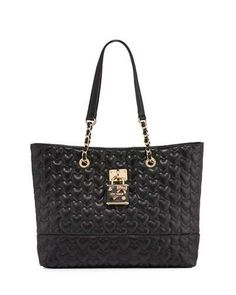 V2XW2 Betsey Johnson Be My Baby Quilted Tote Bag, Black