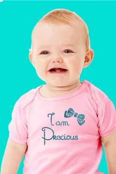 Glitter I am Precious with Bow  Baby by UnKaumanDesigns on Etsy