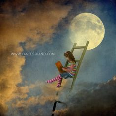 Surreal moon art, fantasy picture, learning to fly, moon picture, digital photo painting, fine art photography, kids room decor on Etsy, $25.00