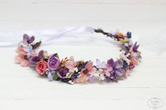 Lavender pink purple flower crown Flower hair by ByKochetova