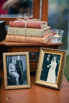 Table with parent's/grandparent's photos.