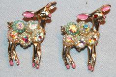 Vintage / Pair / Deer / Reindeer / Seed Pearls / Aurora Borealis / Brooch /  Pin /  Red / Rhinestone / old jewelry jewellery by AmericanHomestead on Etsy