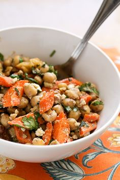 Roasted Carrot and Chickpea Salad -- www.PerrysPlate.com