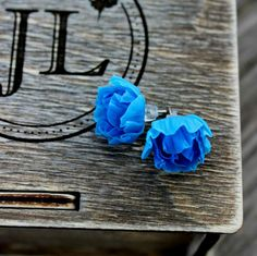 Peony silver stud earrings. Cold porcelain flowers earrings for stylish ladies