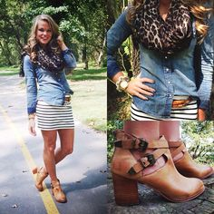 love this combo...denim, stripes & booties