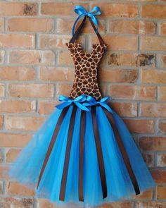 Turquoise Giraffe Tutu Hairbow Holder-