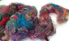 Sari Silk Fibre Recycled 83 grams felting fibre, spinning fibre, needle felting, textiles by feltfibrecraft on Etsy