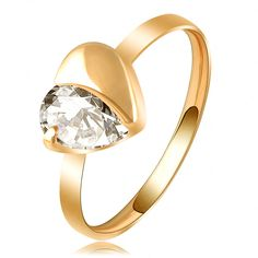 LZESHINE Brand Love Ring Simple Gold/Rose Gold Plated Austrian Crystal Heart Ring SWA Elements Wedding Rings Ri-HQ1080
