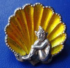 vintage art deco STERLING SILVER yellow enamel cornish pixie brooch c pin -C316
