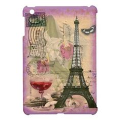 Shabby Chic Paris Eiffel Tower & Red Wine iPad Mini Cover on buy-the-new.com
