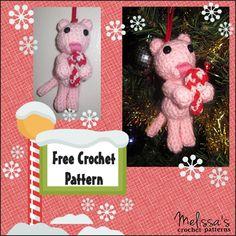 Free Crochet Pattern on Ravelry, Cat Christmas Ornament.